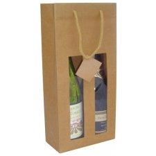 25 Bolsas para botella, kraft con ventana. 18x8.8x38