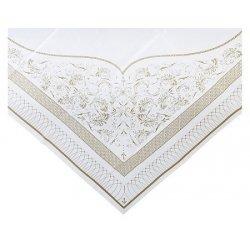 Mantel de papel dorado y blanco 140x140 cms