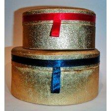 Set de 2 cajas de regalo Lamé oro 15X7.5 / 11.5X6 cm