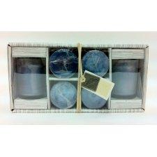 Caja de 6 velas chant de glace con vaso de cristal.