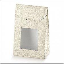 Caja de cartón, piel blanca con ventana 11.5x18x5.5 C/25 uds