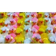 Caja de 48 pollitos de colores surtidos. 5.5 cms