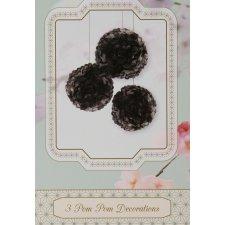 3 Pompones negros de 38 cms + cinta de raso negra