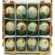 Caja de 12 huevos de pascua, decorados. Flores