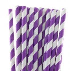 Pajitas de papel, rayas lila. 25 Uds.