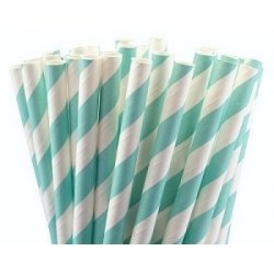 Pajitas de papel, rayas azul claro. 25 Uds.