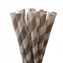 Pajitas de papel, rayas grises. 25 Uds.