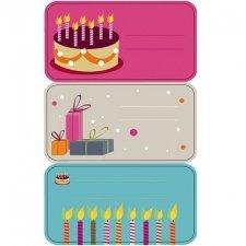 Etiqueta adhesiva pastel, regalos, velas. C/9 uds