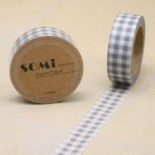 washi tape Check gris. 15 mm x 10 m
