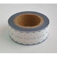 washi tape LIVE LAUGH LOVE ondas gris. 15 mm x 10 m.