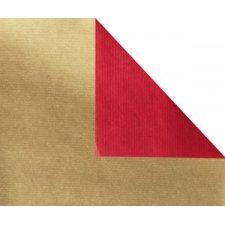 Bobina de papel de regalo, KRAFT, bicolor rojo y oro. 100 m