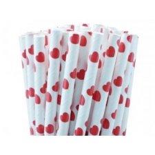 Pajitas de papel, corazón rojo 25 Uds.