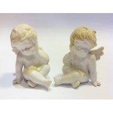 2 Angeles de cerámica blancos. 10 cms