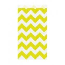 25 Sobres/bolsas de papel chevron amarillo limón, 12x5x18 cms