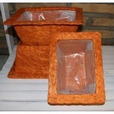 Set de 3 cestos / maceteros ábaca naranja
