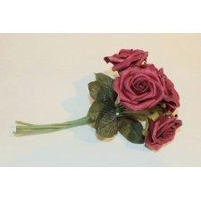 6 Rosas de látex, color granate