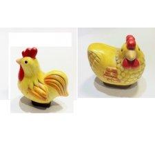 6 Gallos / gallina de terracota. 7x7 cms