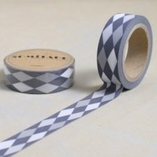 Washi tape HARLEQUIN GRIS. 15 mm x 10 m.