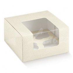 5 Cajas para 4 cup cakes. Piel blanco