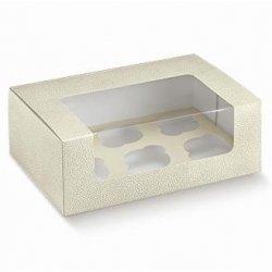 5 Cajas para 6 cup cakes. Piel blanco