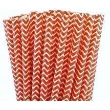 24 Pajitas de papel, chevron rojo.