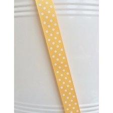 Cinta de regalo, otomán amarillo, lunar blanco 15mm x 10 m
