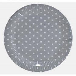 12 Platos de papel, grises con estrellas blancas