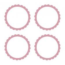 20 Etiquetas adhesiva, festón rosa.