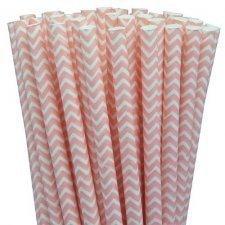 25 Pajitas de papel, chevron rosa.