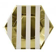 8 Platos rayas doradas