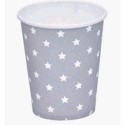 12 Vasos de papel, grises con estrellas blancas