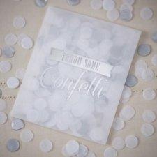 10 Bolsitas de confeti blanco y plata