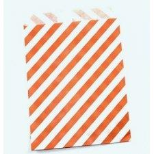 25 Sobres/bolsas de papel rayas 13x18. Naranja