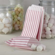 25 Sobres/bolsas de papel rayas rosa. 11.5x19.5.