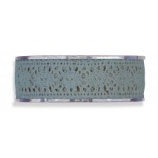 Cinta de regalo encaje-puntilla, azul plomo. 25 mm x 8 m
