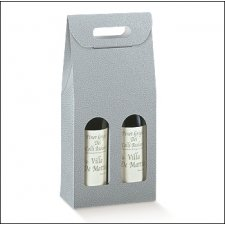 3 cajas para 2 botellas, simil piel color gris.180x90x385mm
