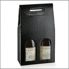 3 cajas para 2 botellas, simil tela color negro .180x90x385mm