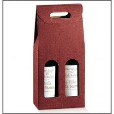 3 cajas para 2 botellas, simil tela color granate.180x90x385mm