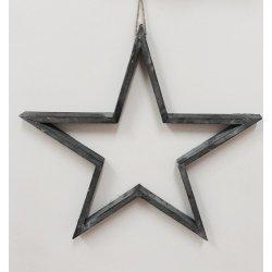 Silueta de estrella de madera gris. 29 cms