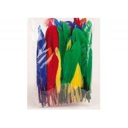 100 Plumas de colores y medidas surtidas