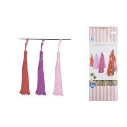 Guirnalda con borlas-tassel de papel. Tonos rosa-fucsia-rojo