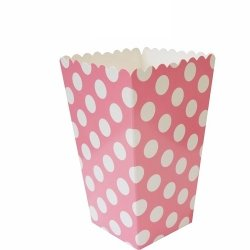 12 Cajas para palomitas. Lunares rosa