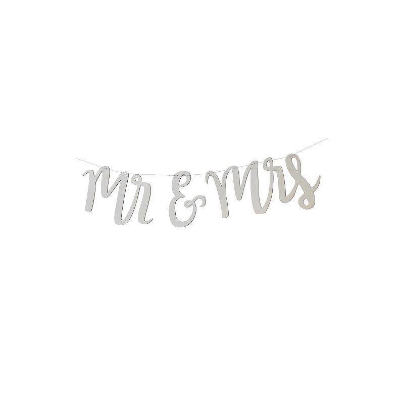 Guirnalda con letras de madera, Mr & Mrs