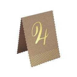 12 Números indicadores para mesas. Kraft impresos en stamping dorado