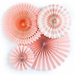 Set de 4 abanicos-molinillos, color coral.