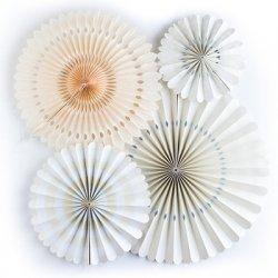 Set de 4 abanicos-molinillos, color marfil