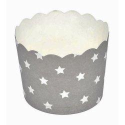12 Tarrinas-cápsulas de papel, grises con estrellas blancas