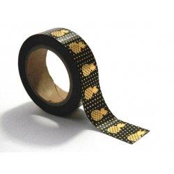 Washi tape negro, piña foil dorada. 15 mm x 10 m