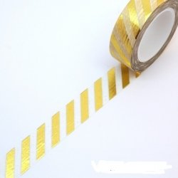 Washi tape blanco, raya foil dorada. 15 mm x 10 m