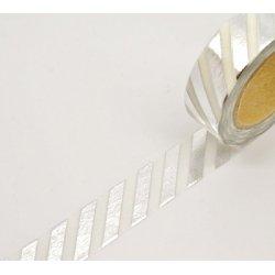 Washi tape blanco, raya foil plata. 15 mm x 10 m